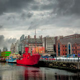 Red tugboat pano in Liverpool England Stock Photos