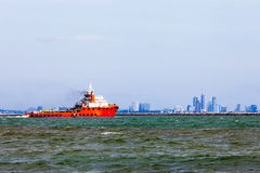 Red tugboats on the sea Stock Photo
