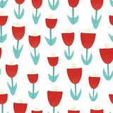 Red tulip flowers illustration seamless vector background. Abstract florals for surface design. Retro spring pattern with hand vector illustration