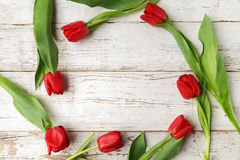 Red tulip flowers on wooden table. Top view with copy space Royalty Free Stock Photography