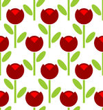 Red Tulip Seamless Pattern. Vector Flower Background. Retro Fabr