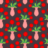 Red tulip in vase seamless pattern. Beautiful flowers in jug tex Stock Photography