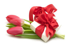 Red Tulips And Gift Box Stock Photography