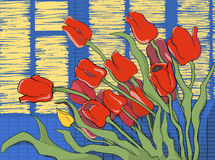 Red tulips on a background of glowing windows Stock Images