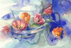 Red tulips in blue watercolor background. Red tulips bouquet in blue background hand made watercolor. Still-life with glass vase Stock Photos