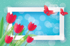 Red Tulips and Butterfly. Paper cut flower. 8 March. Women`s Day. Royalty Free Stock Image
