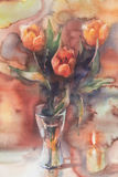 Red tulips with candle watercolor. Red tulips bouquet with candle on yellow background hand made watercolor Royalty Free Stock Photos