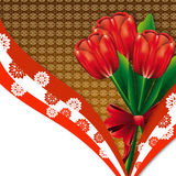 Red tulips card Royalty Free Stock Images