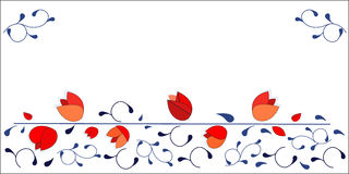 Red tulips design horizontal vector design background Royalty Free Stock Images