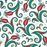 Red tulips flowers pattern Stock Photo