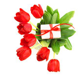 Red tulips with giftbox Stock Photo
