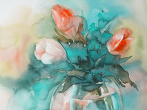 Red tulips on green background watercolor. Yellow and white tulips bouquet on blue background hand made watercolor Stock Image