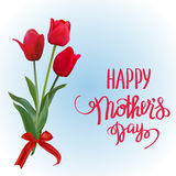 The red tulips with Happy Mother s Day gift card. Royalty Free Stock Photography