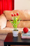 Red tulips in modern living room. Royalty Free Stock Photo