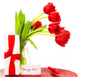 Red tulips for mother Royalty Free Stock Photo