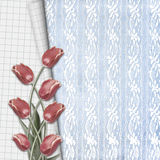 Red tulips with notebook sheet on lace background Royalty Free Stock Photos