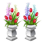 Red tulips and other flowers in stone vase. Vector. Red tulips and other flowers in stone vase. Two vector icon on a white background Royalty Free Stock Image