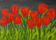Red tulips, painting Royalty Free Stock Photo