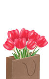 Red tulips in the paper bag, vector isolated in white background Stock Images