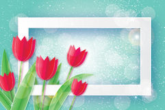 Red Tulips. Paper cut flower. 8 March. Women`s Day. Rectangle frame Royalty Free Stock Photography