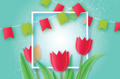 Red Tulips. Paper cut flower. 8 March. Women`s Day. Square frame. Red Tulips paper cut flower. 8 March Women`s Day Greeting card. Origami Floral bouquet. Square Royalty Free Stock Photography
