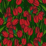 Red tulips seamless pattern Royalty Free Stock Photography
