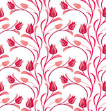 Red Tulips seamless pattern. Red flowering Tulips seamless spring pattern Stock Photos
