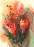Red tulips with splash watercolor Royalty Free Stock Photo