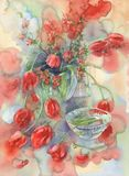 Red tulips still life watercolor. Background. Birthday card Royalty Free Stock Image