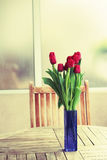 Red tulips on terrace table Royalty Free Stock Photography