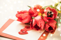 Red tulips  for Valentine's Day Royalty Free Stock Photo
