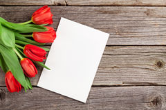 Red tulips and Valentine`s day greeting card Stock Photos