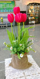 Red tulips in a vase. Stock Photo