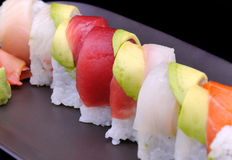 Red tuna on American roll sushi Stock Image