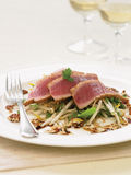 Red tuna and bean sprout salad with black bean and sesame sauce Royalty Free Stock Images
