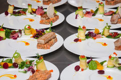 Red tuna and salmon tartar. On restaurant stock images