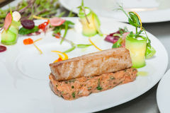 Red tuna and salmon tartar. On restaurant royalty free stock images