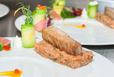 Red tuna and salmon tartar. On restaurant Stock Photo