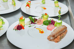 Red tuna and salmon tartar. On restaurant royalty free stock photo
