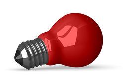 Red tungsten light bulb lying Stock Photo