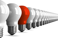 Red tungsten light bulb and many white ones, perspective view Stock Image
