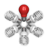 Red tungsten light bulb among white spir Stock Photography