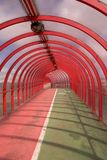 Red Tunnel 1. The red ribbed pedestrian walkway and cycle path in Finnieston, Glasgow, Scotland Royalty Free Stock Images