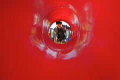 Red tunnel Stock Images