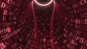 Red tunnel made of hexadecimal symbols. IT related loopable animation. Loopable red tunnel made of hexadecimal symbols. Internet service, information technology stock video footage