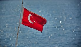Red turkish flag, blowing in the wind stock photos