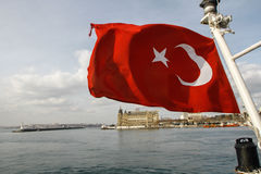 The red Turkish flag Royalty Free Stock Photography