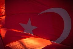 Red turkish flag; Smyrna, Turkey. Turkish flags. Istanbul the capital of Turkey royalty free stock images