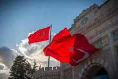 Red turkish flag; Smyrna, Turkey. Turkish flags. Istanbul the capital of Turkey royalty free stock image