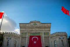 Red turkish flag; Smyrna, Turkey. Turkish flags. Istanbul the capital of Turkey stock image